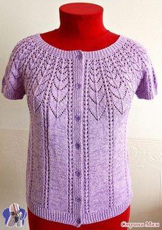 Summer blouse on a round yoke - Knitting - Country Mom Lace Knitting Patterns, Knitting Stitches, Crochet Coaster Pattern, Crochet Top, Crochet Hats, Summer Knitting, Knitwear Fashion, Knit Picks, Lace Tops