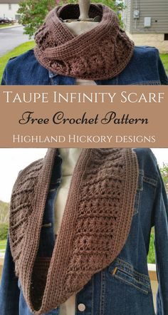 Crochet Taupe Infinity Scarf. Free pattern. Also has a matching slouch hat.