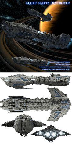 Allied Fleets Destroyer - Poser OBJ 3DS MAX