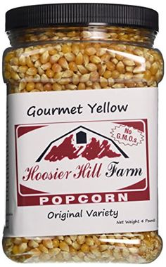 Hoosier Hill Farm Original Yellow Popcorn Lovers 4 lb Jar -- You can get more details by clicking on the image. Popcorn Kernels, Best Popcorn, Gourmet Popcorn, Snack Recipes, Snacks, Nutella, The Best, Just For You