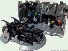 Lego Batman Batcave and Batmobile Lego Minecraft, Lego Moc, Lego Lego, Minecraft Buildings, Batman Lego, Lego Marvel, Batman Batcave, Batman Arkham, Lego Friends