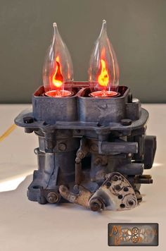 Automobile inspired steampunk lamp by Mechanical Dragon.