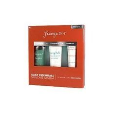 Freeze 24-7 Daily Essentials Skincare System-3 ct by Freeze 24-7. $150.00. Exfoliates. Hydrates. Cleanse. Keep it cool, keep it freshFreeze 24/7 Daily Essentials Skincare System includes three power-packed, ice-crystal-cool Daily Essentials that work seamlessly together for maximum skin rejuvenation, purification and hydration.Daily Essentials include: Daily Detoxifying Cleanser & Mask IceCrystals Anti-Aging Prep and Polish IceCream Double Scoop Intensive Anti-Aging M...