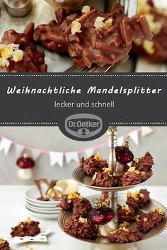 Weihnachtliche Mandelsplitter Christmas almond slivers: Chipped almonds wrapped in chocolate for Christmas – delicious and quick and easy cookies Drop Cookies, Cake Cookies, Chocolate Desserts, Chocolate Chip Cookies, Sweet Like Chocolate, Christmas Baking, Food Cakes, Cake Recipes, Bakery