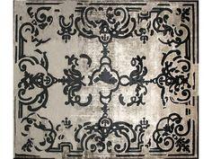 Tapis fait main rectangulaire sur mesure MAGELLAN SHADOW VINTAGE CARBONE by EDITION BOUGAINVILLE