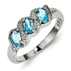 Sterling Silver Rhodium Light Swiss Blue Topaz and Diamond Ring  Size 8 ** Read more reviews of the product by visiting the link on the image.(This is an Amazon affiliate link and I receive a commission for the sales)
