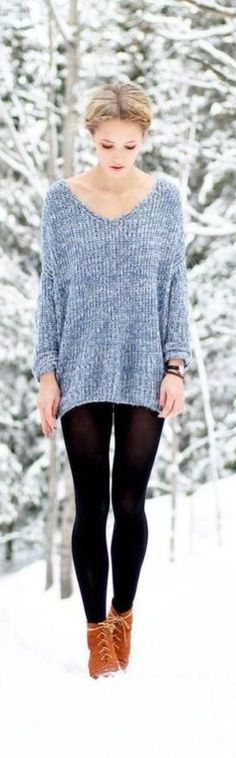 Leggings+Ankle Boots Be there worn that and if she was in real snow I bet she would be freezing her butt or rather legs off!