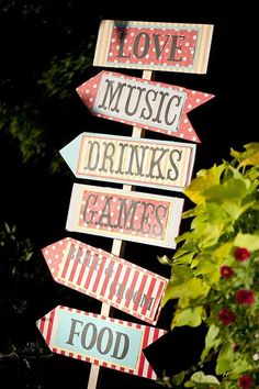 carnival ideas including great decorations, game set-ups, directional signs, fun fonts, etc.
