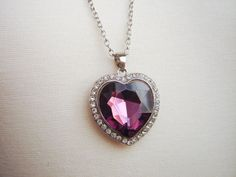 Pink Swarovski Crystal Heart Pendant by DahliasAccessories on Etsy, $8.00