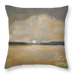 """Sunset Wheat Field Throw Pillow 14"""" x 14"""" by Vesna Antic"""