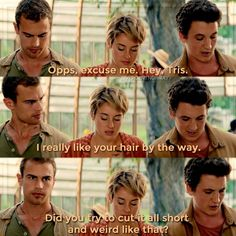 """Tobias face in the last one """"What did you say"""" Divergent Tris, Divergent Memes, Divergent Hunger Games, Insurgent Quotes, Peter From Divergent, Divergent Fanfiction, Tris Und Four, Tris Prior, Veronica Roth"""