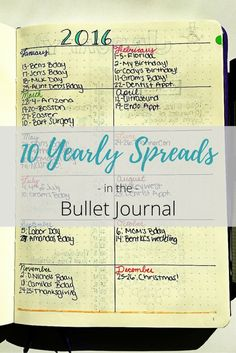 10 Yearly spreads and future logs for the bullet journal!