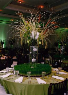 Field of dream table centerpiece. instead of baseball (which is the theme in the pic.) we could use golf theme instead! :D