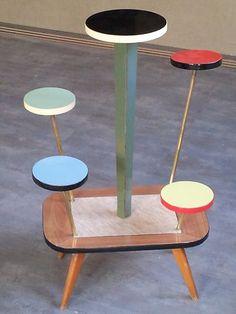 Interior design, decoration, loft, furniture, Table formica Flower Pot Plant Stand 60 70 design scandinave vintage MODERNISTE