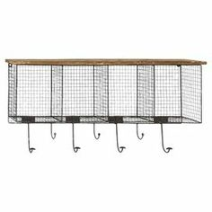 "Wood-topped metal wire wall rack with 4 compartments and 7 hooks.  Product: Wall rackConstruction Material: Wood and metalColor: Black and naturalFeatures:  Seven hooksFour compartmentsDimensions: 14"" H x 32"" W x 6"" D"