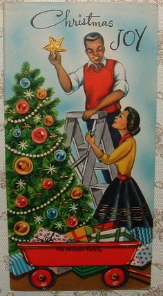 African American Couple Decorate Tree - 1960's Vintage Greeting Card