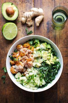 Spicy Shrimp and Avocado Salad wth Miso Dressing - fresh, green, crunchy-delicious. | http://pinchofyum.com