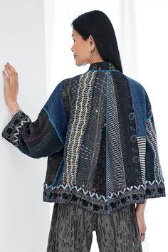 Ralli Cropped Jacket by Mieko Mintz (Woven Jacket) Fashion Sewing, Kimono Fashion, Recycled Denim, Recycled Fabric, Sari Fabric, Woven Fabric, Sewing Clothes, Fashion Details, Cool Outfits