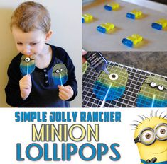 Simple Jolly Rancher Minion Lollipop Tutorial (she: Adelle) theses would be great for gabe s party-n Minion Theme, Minion Birthday, Boy Birthday, Minion Food, Minion Candy, Birthday Ideas, Bonbon Caramel, Despicable Me Party, Homemade Candies