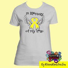 In Memory of My Hero Shirts for Ewings Sarcoma, Adenosarcoma, Osteosarcoma, Sarcoma and Spina Bifida