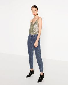 Image 1 of SHINY CROPPED TOP from Zara