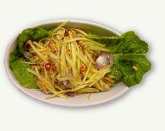 Stærk Mangosalat     Spises i Thailand ofte blot som et lille mellemmåltid men kan sagtens indgå som en af flere retter i en større middag. Rettens styrke er dens friskhed og sprødhed