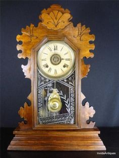 Antique Ansonia Kitchen Mantel Clock Bamboo Glass Chimes Timer WORKS