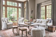A Renovated Houston Home Acquires English Accents - Luxe Interiors + Design Furniture Upholstery, Upholstered Chairs, Living Area, Living Spaces, Living Rooms, Houston Houses, Carpets For Kids, Visual Comfort, Fireplace Mantels