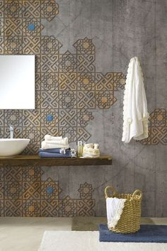 bathroom wall, decoration and concrete tiles Wood Bathroom, Bathroom Wall Decor, Bathroom Interior, Kitchen Interior, Bathroom Ideas, Kitchen Design, Bathroom Yellow, Colorful Bathroom, Interior Walls
