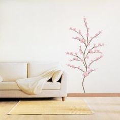 Japanese Cherry Blossoms - Loft 520 Kids Nursery Home Decor Vinyl Mural Art Wall Paper Stickers