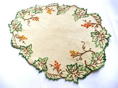 Vintage New Hand Embroidered Linen Doily by TickleAndFinch on Etsy