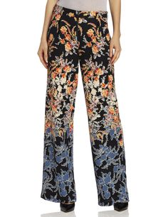 BCBGMAXAZRIA Womens Landon Woven Sportswear Pant, Black/Multi, Small