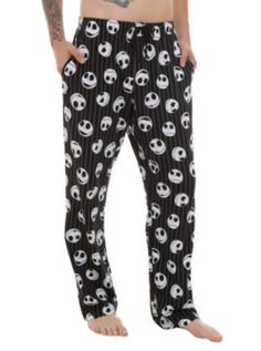 Men's pajama pants- dominated by arbitrarily positioned Jack heads, boasting a variety of expressions...