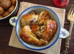 Chicken with golden potatoes   Food From Portugal. The chicken is a delicious meat and very simple to prepare, try it in the oven served with golden potatoes. Your friends and family will love it...  http://www.foodfromportugal.com/recipe/chicken-golden-potatoes/