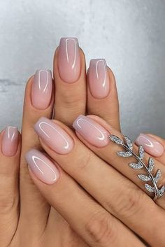 Cute Nail Design Ideas For Stylish Brides ★ nail design nude simple ombre merlin_nails Chic Nails, Stylish Nails, Swag Nails, Pink Nails, Gel Nails, Nail Polish, Glitter Nails, Bride Nails, Wedding Nails