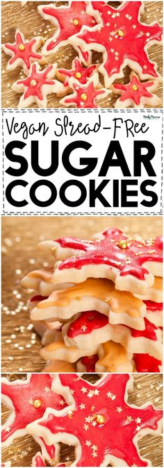OMG These delicious sugar cookies are VEGAN and they don't spread AT ALL! They're the BEST Vegan Christmas Cookies EVER! #SugarCookies #cookierecipe #veganrecipe #vegandesserts #vegancookies