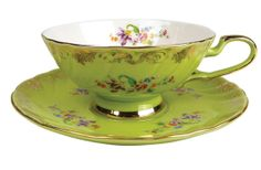 Afternoon Tea Cup And Saucer Green Vibrant! Tea Cup Set, My Cup Of Tea, Tea Cup Saucer, Vintage Cups, Vintage Tea, Teapots And Cups, Teacups, Cuppa Tea, China Tea Cups
