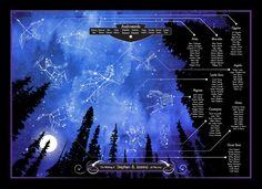 Night Sky themed wedding table plan