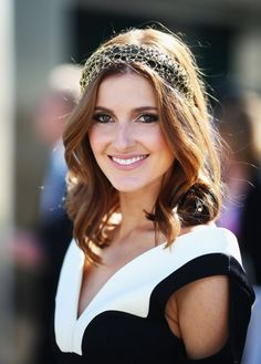 Kate Waterhouse: Melbourne Cup 2013. Centre parted loose curls with Nerida Winter headpiece.