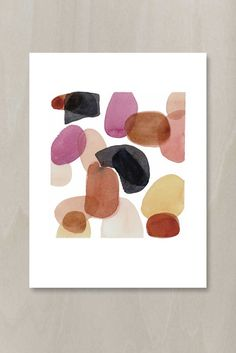 Original watercolor painting dots. Abstract painting on warm white Fabriano paper.  actual painting size: 7 x 7,5 papersize 9 x 12  The work is
