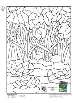 Stained Glass Spectrum Pattern - Water lillies and cattails