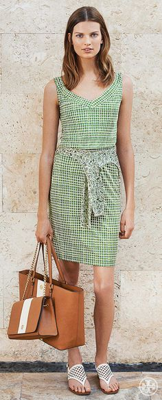 Opt for an easy silk jersey dress and two bags — one practical, one party-sized | Tory Burch Summer 2014