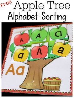 Apple Tree Alphabet font sorting perfect for learning the alphabet and recognizing uppercase and lowercase letters.
