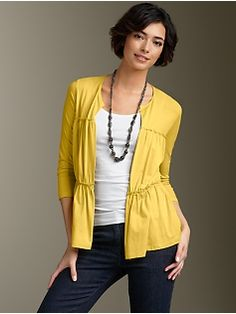 The flowiness of this yellow cardigan would hide a hippy body. Just what I'm looking for - and the yellow is not bad either.