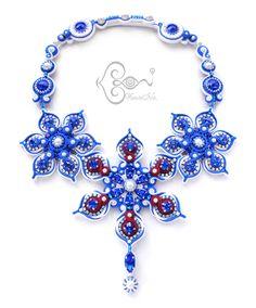 """ソウタシエ・ネックレス """"hanabi"""" necklace by KaoriNa. Soutache Necklace, Hanabi, Necklaces, Bracelets, Shibori, Fashion Necklace, Fashion Accessories, Brooch, Inspiration"""