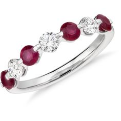 Blue Nile Classic Floating Ruby and Diamond Ring ($1,780) ❤ liked on Polyvore featuring jewelry, rings, blue nile, blue nile jewelry, round ring, wedding anniversary rings and anniversary jewelry