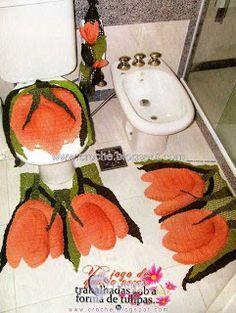 jogo de banheiro tulipas | croche croche