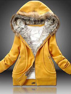 Women's Pure Color Front Zip Long Sleeve Fur Hooded Coat