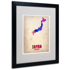 Japan Watercolor Map by Naxart Matted Framed Painting Print