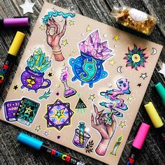 🐣 🐰 🐇I haven't been active these days. But happy Easter guys! Wish you enjoy my designs of witchcraft theme. Colorful Drawings, Kawaii Tattoo, Body Art Tattoos, Art Sketchbook, Halloween Tattoos, Art Tattoo, Book Of Shadows, Cute Drawings, Witch Tattoo